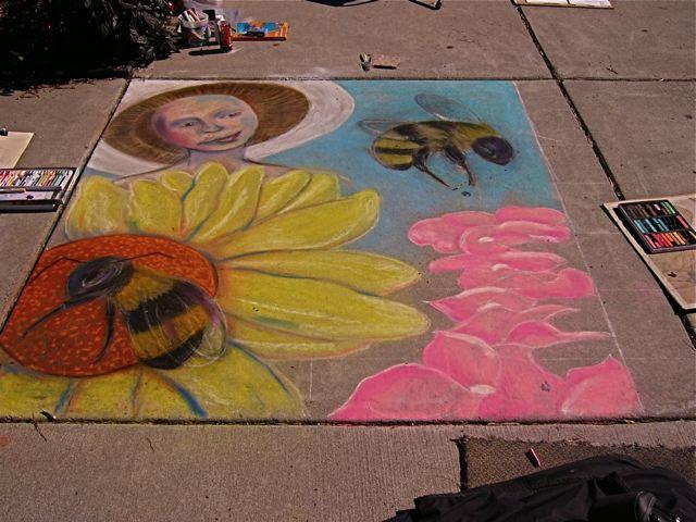 Mushroom Maiden in chalk