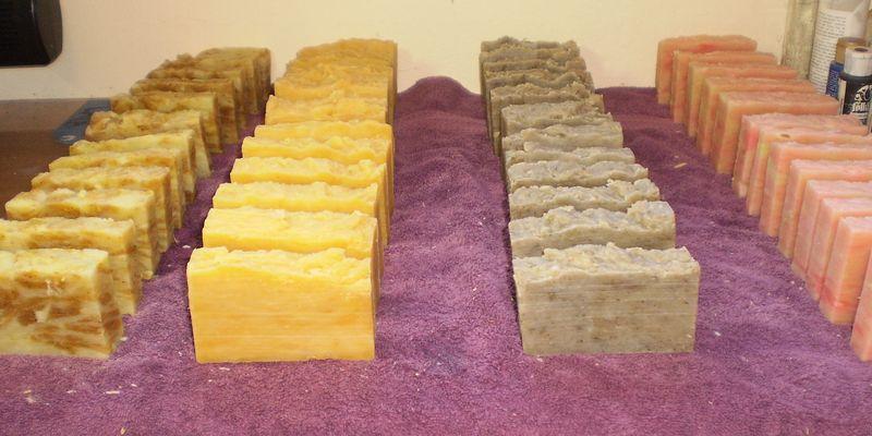 Fresh cut bars of soap