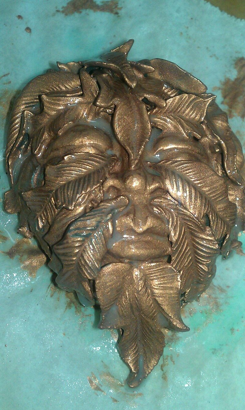 Greenman Face Patina Developing