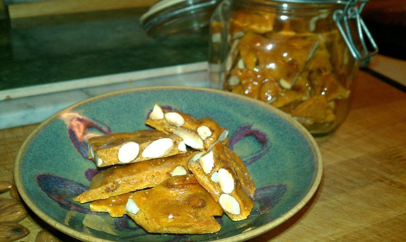 Almond Brittle in a dish
